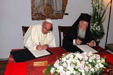 Pope Francis & Patriarch Bartholomew sign joint declaration