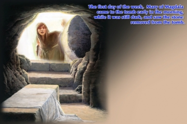 The other disciple (...) also went in; he saw and believed: Gospel by pictures: Easter Sunday