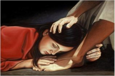 ``Anointed the feet of Jesus, wiping them with her hair`` - Monday of Holy Week
