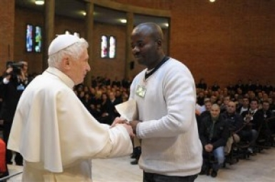 Pope Benedict XVI visits Rebibbia prison Rome Italy