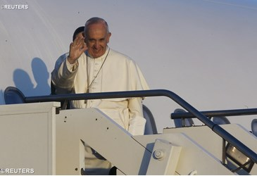 Pope Francis arrives in Lesbos
