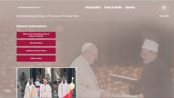 New website dedicated to the Human Fraternity Day