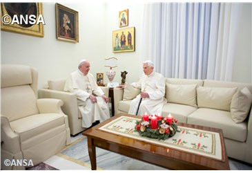 Pope Francis offers the Pope Emeritus his Christmas greetings