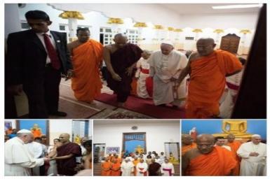 Le pape visite un temple bouddhiste à Colombo, une étape non prévue au programme officiel